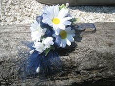 White Daisy and Navy Feather Flower Corsage Weddings by RoseandPin, £7.50