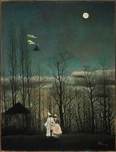 Reminds me of The Night Circus - Carnival Evening by Henri Rousseau. 1886.
