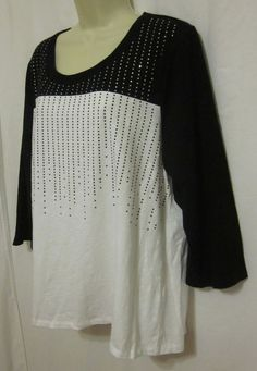 Chicos Womens Zenergy Dina Blocked Dot Black White Shirt 3 XL Large Top Bling  #Chicos #KnitTop #Casual