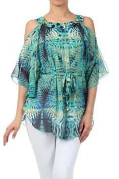 100 percent Polyester 1S/2M/2L/1XL Per Pack Green (shown) This HIGH QUALITY top is VERY CUTE! Made from a silky smooth and comfy fabric, this relaxed, sheer, printed top with cutout kimono sleeves, an embellished textured neckline, waist tie, and an asymmetrical hem fits true to size.