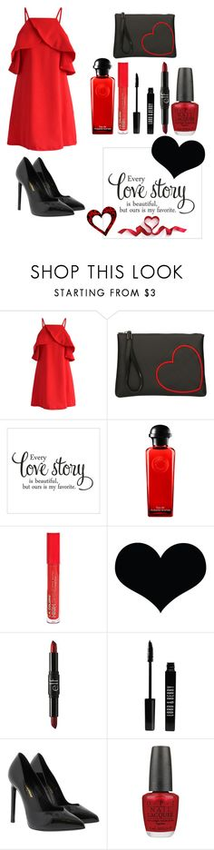 """""""love story"""" by im-karla-with-a-k ❤ liked on Polyvore featuring Chicwish, Gum by Gianni Chiarini, Hermès, L.A. Colors, Brika, e.l.f., Lord & Berry, Yves Saint Laurent and OPI"""