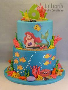 Disney Party Ideas: Little Mermaid cake Little Mermaid Birthday Cake, Little Mermaid Cakes, Birthday Cake Girls, The Little Mermaid, Beautiful Cakes, Amazing Cakes, Theme Mickey, Ariel Cake, Ocean Cakes