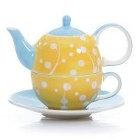pictures of dots | Blossoms Tea for One in Yellow Polka Dot.
