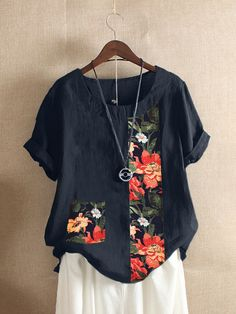 Specification :Customer Age: YearsColor: NavySize: CottonClosure Type: OverheadPattern: Printed,PatchworkSleeve Length: ShortSleeveOccasion: Daily Casual,WorkNeckline: O-neckSilhouette: A-LineSeason: Spring,SummerPackage Blouses For Women, T Shirts For Women, Casual T Shirts, Types Of Sleeves, Short Sleeves, Vintage Cotton, Sewing Clothes, Chic Outfits, Blouse Designs