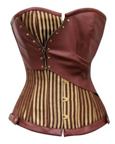 CD-468 - Brown and Gold Striped Overbust Corset with Pocket Watch