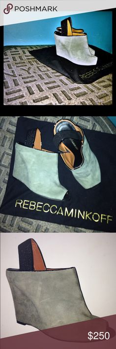 "Rebecca Minkoff Sam Wedge Peep toe Gray heels Rebecca Minkoff Sam new comes with dust bag size 7 Retail $385 Imported Leather sole Heel measures approximately 4"" Gorgeous texture wraps through the concealed wedge to create a sleek silhouette. Rebecca Minkoff Shoes Wedges"
