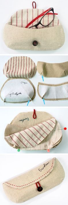 Sewing Tutorials Free DIY Glasses Case Sewing Tutorial free Pattern Nossa, tava precisando de um desses - How to sew an easy Glasses case, Eyeglasses and Sunglasses case Sewing Basics, Sewing Hacks, Sewing Tutorials, Sewing Crafts, Sewing Patterns, Sewing Tips, Tutorial Sewing, Wallet Tutorial, Bag Tutorials