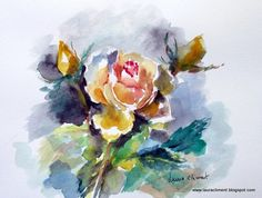 LAURA CLIMENT.  Summer rose. (Watercolor. Acuarela) Roses Only, Watercolor, Summer, Painting, Art, Watercolor Painting, Pen And Wash, Art Background, Summer Time