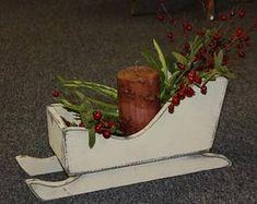Primitive ALL Wood Sleigh,Santa,Sled,Snow-Well made-Country Christmas~Black Christmas Craft Fair, Pallet Christmas Tree, Christmas Wood Crafts, Primitive Christmas, Christmas Projects, Winter Christmas, Holiday Crafts, Christmas Time, Country Christmas