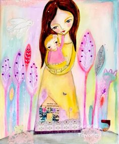 Susana Tavares: mother and baby custom painting + husband in Paris Baby Painting, Painting & Drawing, Mixed Media Painting, Mixed Media Art, Art Journal Inspiration, Journal Ideas, Soul Art, Baby Portraits, Doodle Drawings