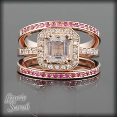 OOOOH,PRETTY!!!  Asscher Cut Morganite and White Sapphire Engagement Ring with Two Pink Sapphire Wedding Bands in 14kt Rose Gold - LS1514. $2,086.50, via Etsy.
