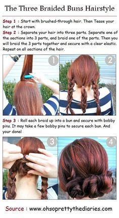 The Three Braided Buns Hairstyle | PinTutorials