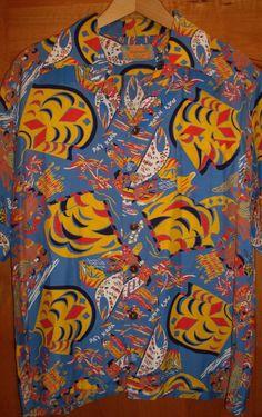 RARE Vintage 40s Kamehameha Rayon Hawaiian Aloha Shirt M