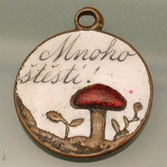 Good Luck Mushroom Charm Vintage Enamel Brass Czech