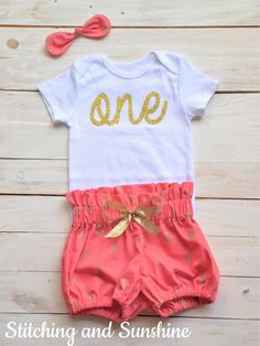 First Birthday Outfit, Bodysuit and Bloomers First Birthday Outfit, First  Birthday Girl, Gold and Coral, Baby Girl Hairbow, Baby Girl Outfi