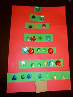 Measurement & Counting Christmas Tree Activity. To accomodate for diverse learners, draw lines and make each strip into sections.  Can also use this for a comparing numbers lesson.