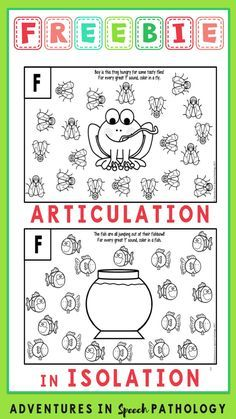 Grab those pencils, crayons, stamps, paints dabbers and practice those speech articulation sounds in isolation with this free sample containing s-f-r-k-j sheets. Preschool Speech Therapy, Speech Activities, Speech Therapy Activities, Preschool Articulation Activities, Speech Language Therapy, Speech Language Pathology, Speech And Language, Articulation Therapy, Therapy Ideas