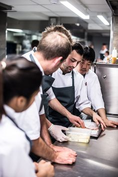 Chefs at Marchal working on the first dish