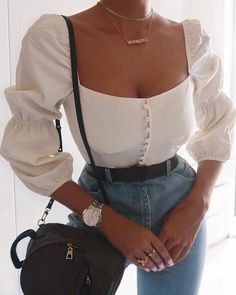 Read more The post Squared Neck Balloon Sleeve Top appeared first on How To Be Trendy. Komplette Outfits, Girly Outfits, Cute Casual Outfits, Stylish Outfits, Fashion Outfits, Fashion Trends, Looks Chic, Mode Inspiration, Journal Inspiration