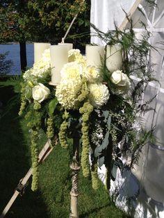 candelabra: amaranthus, dahlias, hydrangea, roses