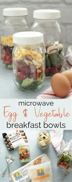 Need a quick and easy breakfast that's packed with protein and veggies? These breakfast bowls or mason jar omelets fit the bill! #sponsored #masonjarmeals #protein #breakfast #omelets #mealprep #healthybreakfast #microwavemeals #vegetarianrecipes