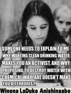 "Winona LaDuke Anishinaabe: ""Explain why wanting clean drinking water makes you an activist why proposing to destroy water with chemical warfare doesn't make you a terrorist. Cogito Ergo Sum, The Words, We Are The World, In This World, Winona Laduke, Environmentalist, Thats The Way, In Kindergarten, Social Justice"
