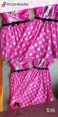 Mickey Mouse maxi nightgown size 8 &10 NWT Minnie Mouse Maxi nightgown. $18 each or bundle super cute size 8 size 10 great gifts for birthday flame resistant hundred percent polyester machine wash cold brand new with tags Disney Intimates & Sleepwear Shapewear