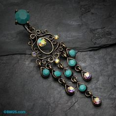 Items similar to Vintage Boho Chandelier Reverse Belly Button Ring - Brass/Aurora Borealis/Turquoise on Etsy Bellybutton Piercings, Cute Piercings, Navel Piercing, Body Piercings, Belly Rings, Belly Button Rings, Body Jewelry, Wire Jewelry, Turquoise Bracelet