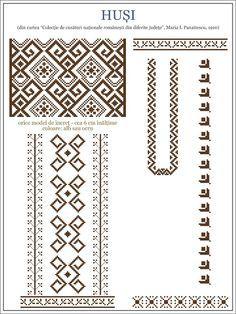 Semne Cusute: model de ie din Husi, MOLDOVA / embroidery patterns for the… Embroidery Motifs, Learn Embroidery, Cross Stitch Embroidery, Embroidery Designs, Cross Stitch Designs, Cross Stitch Patterns, Knitting Patterns, Bordados E Cia, Simple Cross Stitch