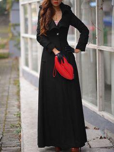 Black Lapel Single Button Woolen Trench Coat 53.94