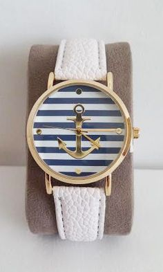Gold Anchor White Leather Band – LQ Boutique