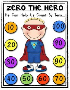 "ZERO THE HERO Poster and Student Math Helper! Count by Tens. Blackline and color included.plus ""write in"" versions too! This is an example of a completed previous activity. Kindergarten Fun, Preschool Math, Teaching Math, Math Activities, Maths, Teaching Ideas, Superhero Classroom, Math Classroom, Classroom Ideas"