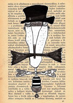 Mixed media folk art Illustration art print mustache by mohadesign, $10.00
