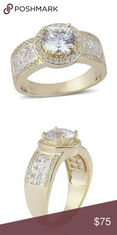 ELANZA SWAROVSKI STERLING SILVER RING ELANZA SWAROVSKI DIAMOND RING SET IN 14KT YELLOW GOLD OVERLAY PURE 925-STERLING SILVER/NICKEL FREE. TCW-5.5550 SWAROVSKI Jewelry Rings