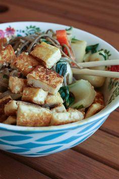 Sesame Tofu Noodle Bowl with Peanut Sauce