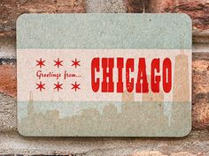 Greetings From Chicago letterpress postcard