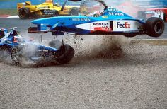 """Who needs wheels when you can fly."" Alexander Wurtz ""piloting"" for Benetton at the 1998 GP Canada."