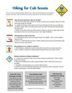 Hiking Activities for Cub Scouts as a Pack, new 2015 program