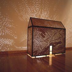 Greer Honeywill, Embroidered House2005.  Marine ply, mild steel, varnish, light.