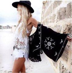 Boho Kimono Black With White Embroidery Lace Hem For Free Spirited People Size Small Medium Or Large