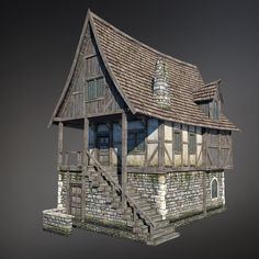 Medieval House (Low Poly) by Sergey-Ryzhkov Casa Medieval Minecraft, Medieval Houses, Medieval Town, Fantasy Town, Fantasy House, Medieval Fantasy, Fantasy Village, Building Concept, Building Design