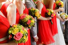 The lovely ladies of Krista and Dan's Real New Jersey Wedding. Bridesmaids dresses by Vivid Poppy from @jcrew. Flowers by Floral Designs by Dara (Colts Neck).