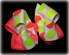 NEON Glitter Double Layered Hair Bow by MyBellaBellaBowtique, $5.99