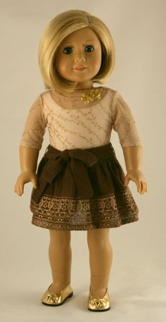 American Girl Doll Clothes - Printed Gauze Skirt, Sheer Gold Mesh Tee, and Cream Tank. $28.00, via Etsy.