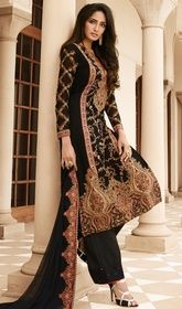 Black Color Embroidered Georgette Palazzo Suit  #palazzosalwarkameezonline #palazzodress Glam up in style clad stepping out in this black color embroidered georgette palazzo suit. The incredible attire creates a dramatic canvas with remarkable resham and lace work.  USD $ 125 (Around £ 86 & Euro 95)