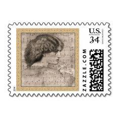Sketch of Woman w/ Sheet Music Postal Stamp