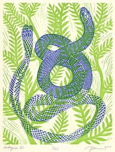 "8 x 10 Linocut Print ""Ecdysis III"" - snake / serpent / shedding skin / snake art / snake print / blue / vine / green / animal art / renewal"