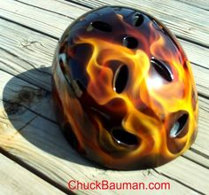 Left side view of skate / bicycle / sports helmet airbrushed with realistic true fire flames - See this image on Photobucket.