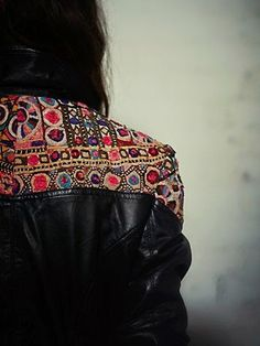 Embellished Black Leather Jacket >> If I could own a jacket like this I would die #clothes #jacket #details