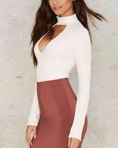 ec6585ac1f Plain white t shirt long sleeve keyhole tops tight for lady